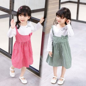 婴幼儿秋季长袖假两件连衣裙