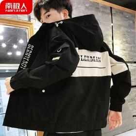 南极人季新款男士工装夹克青少年口袋外套休闲连帽茄克