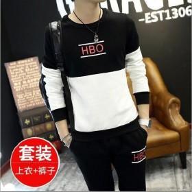 男士休闲运动套装男学生韩版潮流装 春秋户外长袖两件