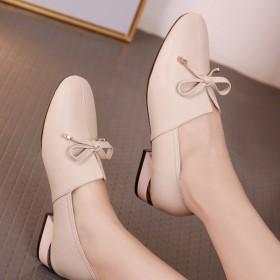 中跟粗跟软皮单鞋软底真皮大码皮鞋