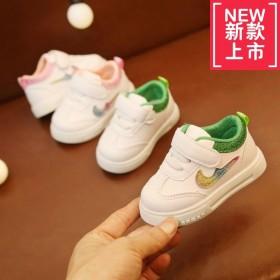 春秋季1-3岁男童运动鞋女童透气小白鞋软底防滑宝宝