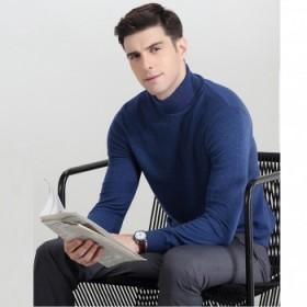 高品质100%羊毛衫男士长袖针织衫毛衣套头保暖高领