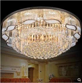新款圆形水晶灯客厅吸顶灯 LED卧室灯 现代S金大