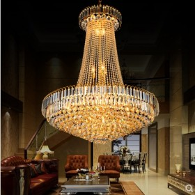 复式楼客厅水晶大吊灯 酒店大厅灯楼梯吊灯别墅水晶吊