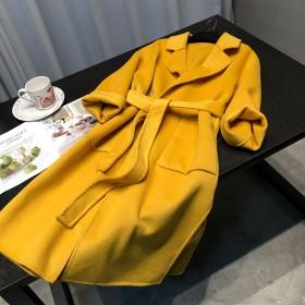 双面羊毛大衣长款收腰显瘦纯手工羊绒大衣外套女装