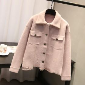 2019秋冬新款水貂绒外套单排扣长袖女装短外套女装