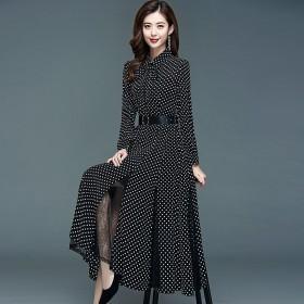 秋季尚端庄大气高腰连衣裙蕾丝拼接波点显瘦打底公主裙