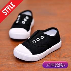 新款帆布鞋儿童男春秋学生韩版饼干底板鞋男童透气软底