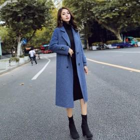 雾霾蓝毛呢外套女中长款韩版2019新款冬季森系系带
