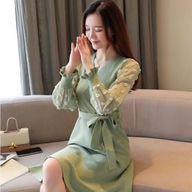 韩版秋冬打底连衣裙蕾丝网纱长袖百搭甜美修身显瘦气