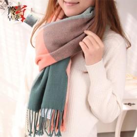 韩版保暖格子围巾女针织围脖百搭披肩 185克重
