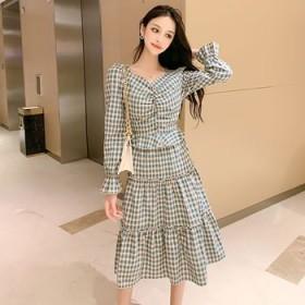 长袖连衣裙韩版格子v领可爱秋装中长裙蛋糕裙女装甜美