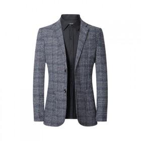 西服男青年时尚修身单排两粒扣休闲格纹男秋装外套