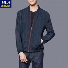 海澜之家剪标秋季男士立领拉链双面穿搭休闲夹克衫