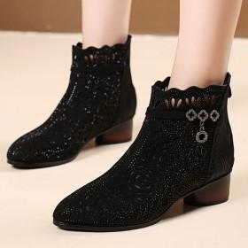 短靴女春秋靴子单靴镂空网靴粗跟中跟百搭马丁靴