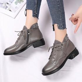 真皮鞋马丁靴粗跟小短靴中跟百搭英伦春秋款靴子