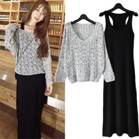 大码宽松性感镂空长袖针织韩版修身两件套长款连衣裙女