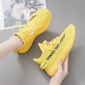椰子女鞋秋季新透气飞织运动鞋女跑步ins网鞋子女