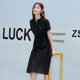 黑色衬衫裙女夏短袖长款过膝连衣裙收腰系带显瘦衬衣裙