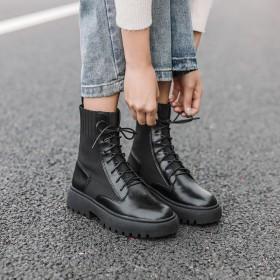 马丁靴女2019新款靴子女粗跟帅气英伦风机车靴女