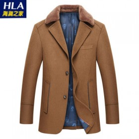 海澜之家品牌剪标羊羔毛领毛呢大衣男外套潮夹克