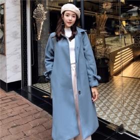 女式毛呢外套中长款2019秋冬新款韩版学生雾霾蓝