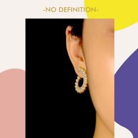 无定义原创设计高级感立体螺旋气质珍珠女耳环14K金