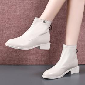 短靴女春秋款真皮单靴2019秋季新款女鞋粗跟裸靴