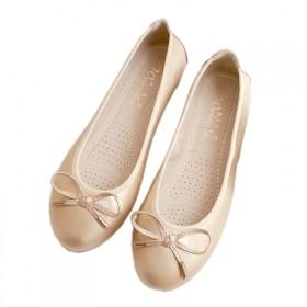 大码单鞋平底女鞋软底蛋卷休闲豆豆鞋浅口蝴蝶结