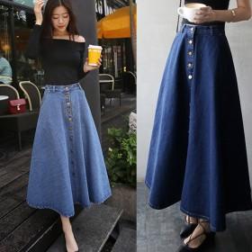 时尚女装 单排扣显瘦高腰牛仔长裙 纯色韩版半身裙