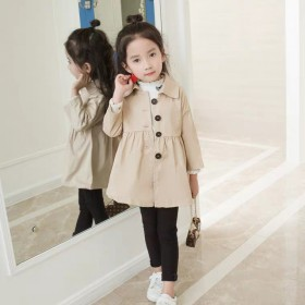 女童大衣春外套翻领纯色休闲女童中长款风衣中小童英伦