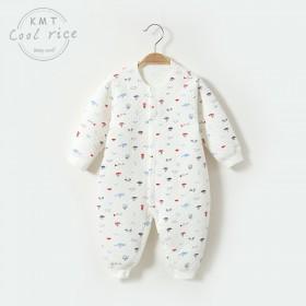 婴儿保暖连体衣秋冬夹棉无骨新生儿衣服冬季薄棉哈衣