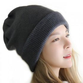 纯色毛线帽双层加厚羊毛套头帽子护耳保暖冷帽