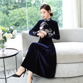 改良版旗袍中年女秋装大码连衣裙