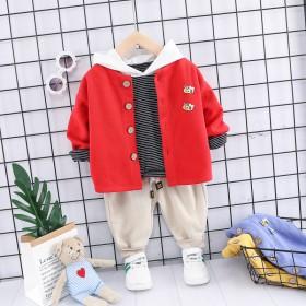 春秋季儿童宝宝衣服童装卡通小蜜蜂长袖带扣子长裤三件