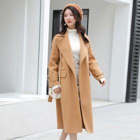 加长款双面呢大衣女2019秋冬新款暗扣双面羊毛呢