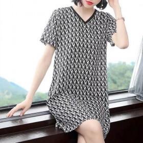 连衣裙女夏季新款大码女装短袖印花中长款气质V领裙子
