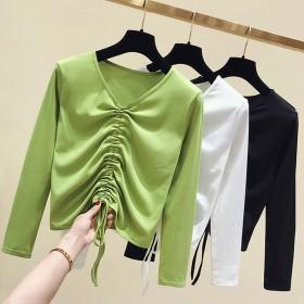 秋季新款韩版系带上衣修身显瘦时尚打底衫牛油果绿