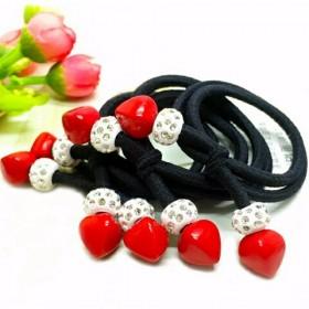 新韩镶钻加粗尖角双红樱桃发绳头饰品彩发圈筋头绳
