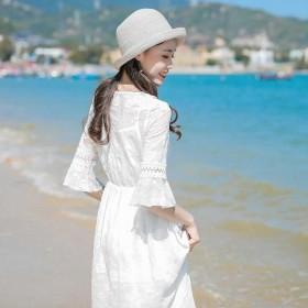 连衣裙19雪纺大码沙滩裙休身显瘦中长款洋气a字裙