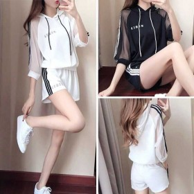 运动女春学生短袖套装韩版时尚休闲大码胖M洋气两件套