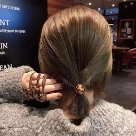 韩国网红冰裂豹纹头绳时尚简约发圈头饰高力皮套皮筋