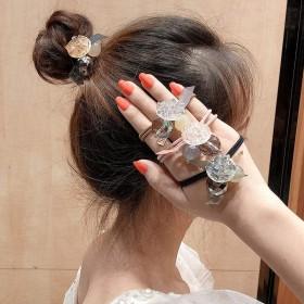 韩国东大门同款黑白波点方块绳韩版可爱森女系扎头发