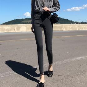潮流女士牛仔裤简约舒适修身百搭女裤毛脚弹力直筒裤