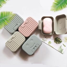 行便携香皂盒子翻盖笑脸大号加厚皂盒带锁扣带盖