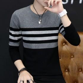 毛衣男士韩版潮流个性薄款青少年学生加绒加厚针织衫