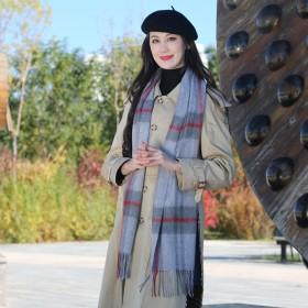 羊毛格子围巾秋冬女士百搭经典格纹韩版长款学生墨绿色