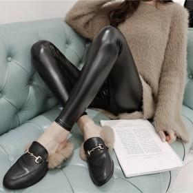 新品冲量高腰PU皮裤女打底裤女外穿加绒加厚弹力紧身