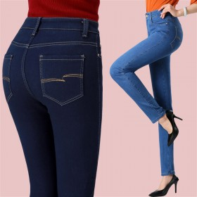 高腰直筒女裤牛仔裤大码弹力修身显瘦春秋新款