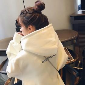 2019春秋新款加绒连帽卫衣女韩版潮学生时尚宽松外